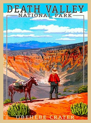 Death Valley National Park Ubehebe Crater California Retro Travel Poster Print