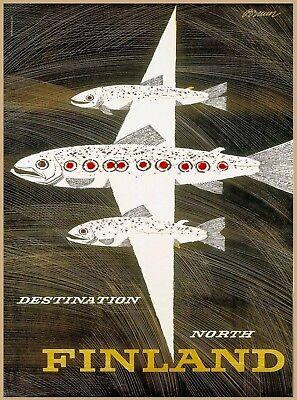 Destination North Finland Fish Scandinavia Vintage Travel Advertisement Poster