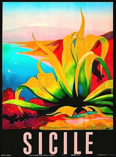 Sicile Sicilia Sicily Italy Italia Italian Vintage Travel Advertisement Poster