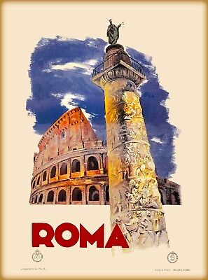 1935 Roma Rome Italy Coloseum St. Peters Basilica Travel Advertisement Poster