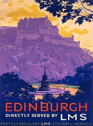 Edinburgh England Scotland LMS Vintage Railway Travel Advertisement Poster