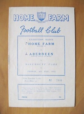 HOME FARM v ABERDEEN Friendly 1954/1955 *VG Condition Football Programme*