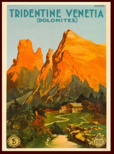 Tridentine Venetia Italy Italian Dolomites Vintage Travel Advertisement Poster