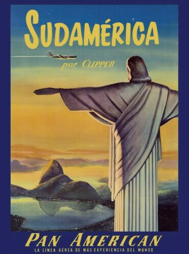 Rio de Janeiro Brazil Sud South America Vintage Travel Advertisement Art Poster