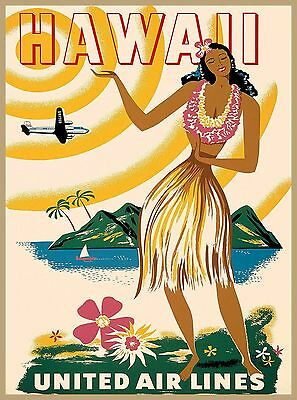 Hawaii Hula Girl Hawaiian Vintage United States Travel Advertisement Art Poster