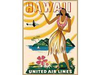 POSTER TRAVEL HAWAII PARADISE AIRPLANE FLIGHT HULA GIRL VINTAGE REPRO FREE S//H