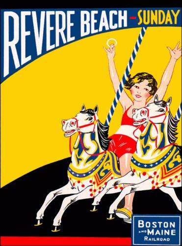 Revere Beach Boston & Maine Massachusetts Vintage U.S. Railroad Travel Poster