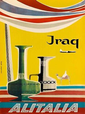 Iraq Alitalia Vintage Airlines Airline Travel Advertisement Art Poster Print