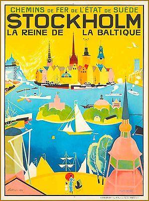 Stockholm Sweden La Reine de la Baltique Scandinavia Swedish Travel Poster Print