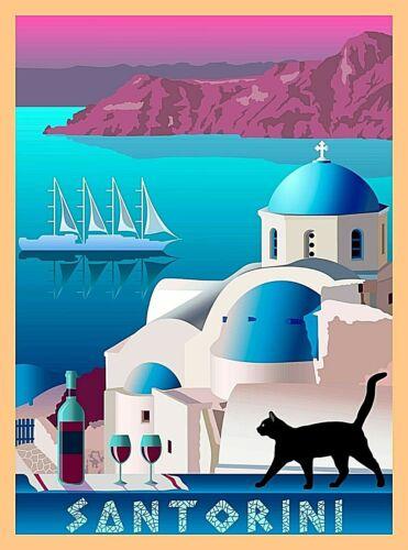 Santorini Greece Greek Isles Black Cat Retro Travel Wall Decor Art Poster Print