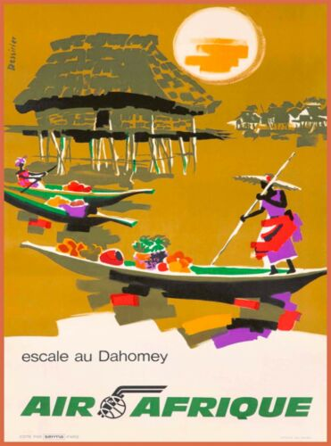 Air Afrique Africa African Vintage Travel Wall Art Poster Advertisement Print