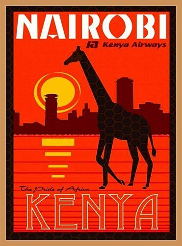 Nairobi Kenya Airways Africa Vintage Travel Wall Advertisement Poster Print