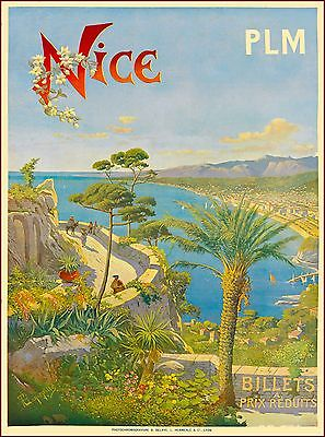 Nice France French Riviera Europe European Vintage Travel Advertisement Poster