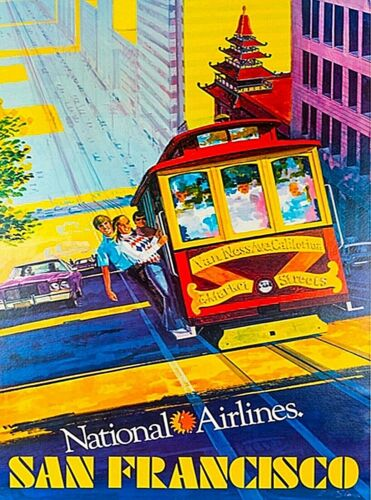 San Francisco California National Airlines Vintage Travel Advertisement Poster