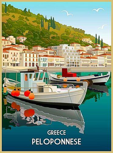 Peloponnese Greece Greek Isles Island Retro Travel Wall Decor Art Poster Print