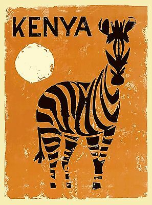 Kenya Zebra Africa Vintage African Travel Advertisement Art Poster Print
