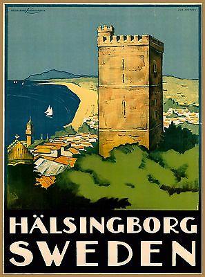 Hälsingborg Sweden Scandinavia Vintage Swedish Travel Advertisement Poster