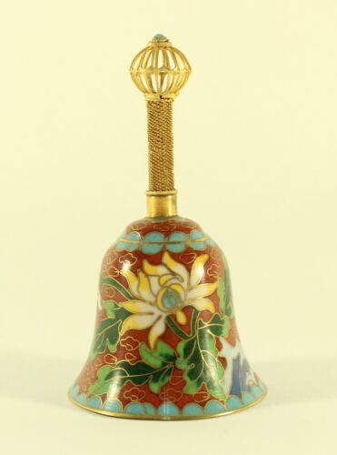 Asian Chinese Flower Floral Cloisonne Bell Figurine