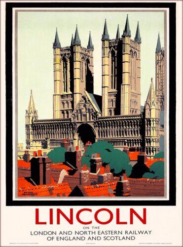 Lincoln Great Britain England Scotland Vintage Railways Travel Art Poster Print