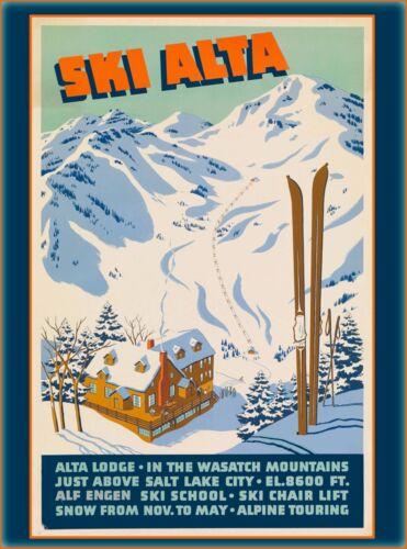 Ski Alta Salt Lake City Utah United States Vintage Travel Advertisement Poster