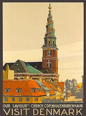 Visit Copenhagen Denmark Scandinavia Church Vintage Travel Advertisement Poster