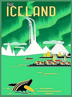 Visit Iceland Retro Home Wall Decor 2  Travel Advertisement Art Poster Print.  Advertisement Art Poster Print