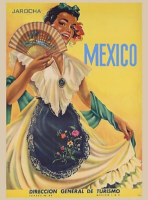 Mexico Jarocha Senorita Vintage Mexican Travel Advertisement Art Poster