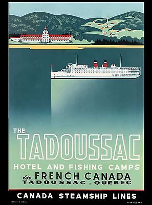 Tadoussac Quebec French Canada Steamship Canadian Travel Advertisement Poster