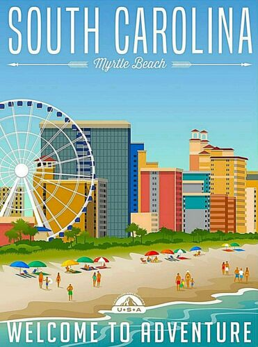 Myrtle Beach South Carolina United States Retro Travel Art Deco Poster Print