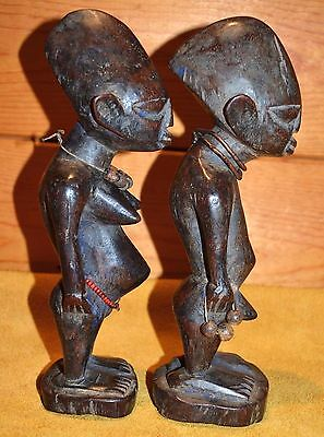 Antique Yoruba Tribe Ibeji Twin Figures Hand Carved Wood Statues, Nigeria Africa