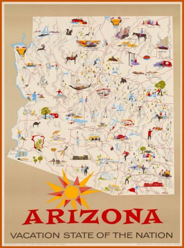 Arizona Vacation State Map Vintage United States Travel Advertisement Poster