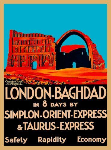 London England Baghdad Iraq Simplon Orient Express Vintage Travel Poster Print