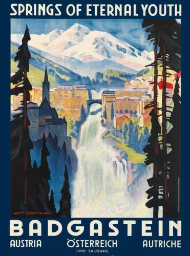 Badgastein Austria Eternal Youth Vintage Travel Advertisement Art Print