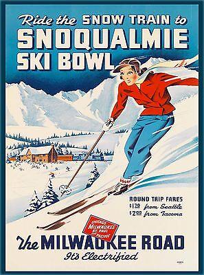 Snow Train Milwaukee Ski Bowl Washington U.S. Travel Advertisement Poster