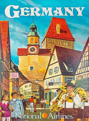 Germany National Airlines Vintage Travel Advertisement Art Poster Print