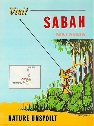 Visit Sabah Malaya Malaysia Vintage Travel Advertisement Art Poster Print