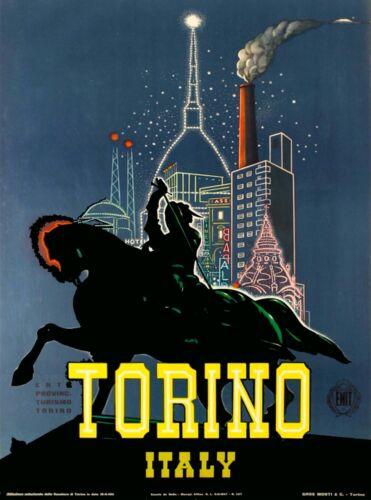 Torino Italy Night Vintage Travel Advertisement Art Poster  Print