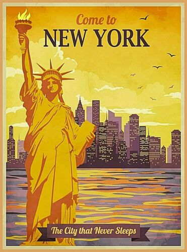 Come to New York Statue of Liberty Retro Travel Art Poster Print