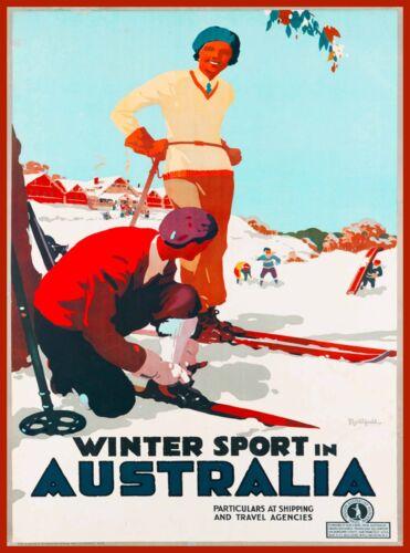 Winter Sport in Australia Ski Vintage Travel Advertisement Art Poster Print