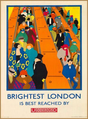 Brightest London Underground England Great Britain Travel Advertisement Poster