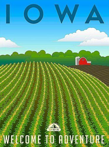 Iowa Welcome to Adventure United States Retro Travel Art Poster Print