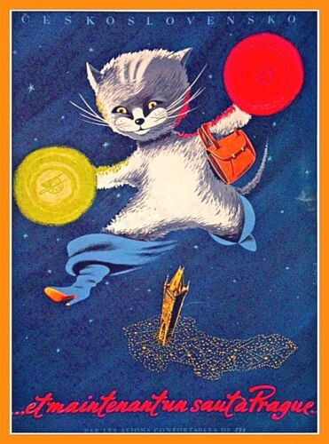 Prague Praha Jumping Cat Czech Republic Vintage Travel  Art Poster Print