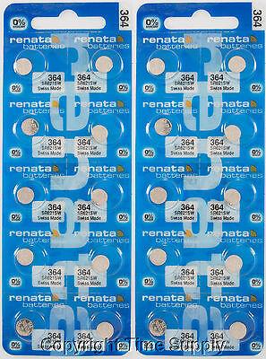 20 pcs 364 Renata Watch Batteries SR621SW FREE SHIP 0% MERCURY