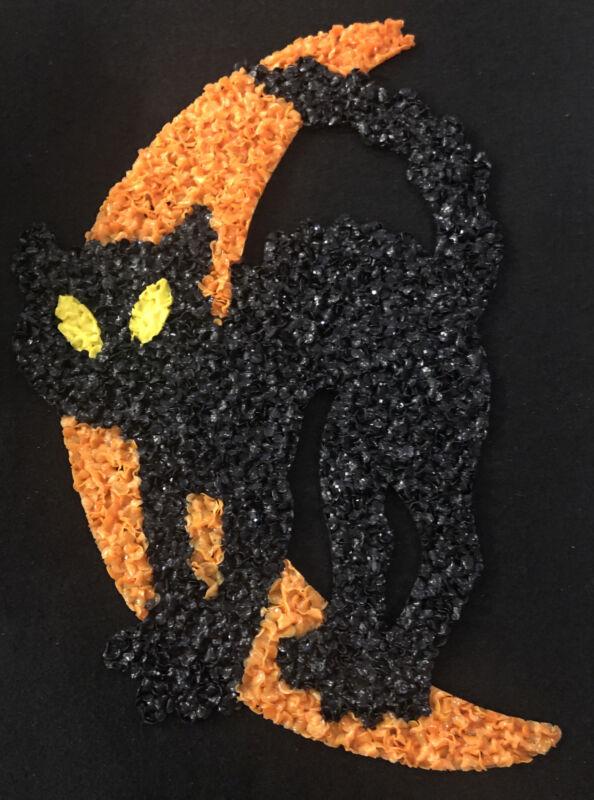 Vintage Melted Plastic Popcorn Halloween BLACK CAT CRESCENT MOON Decoration Read