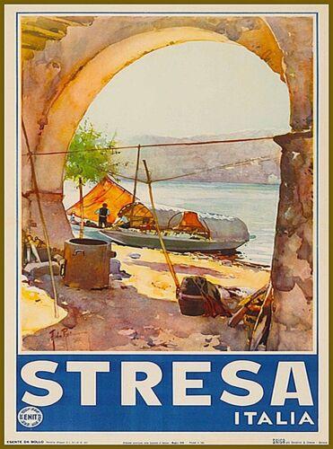 Stresa Italy Vintage Travel Wall Decor Advertisement Art Poster Print