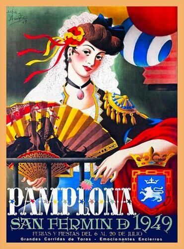 1949 Pamplona San Fermin D Spain Vintage Travel Advertisement Art Poster Print