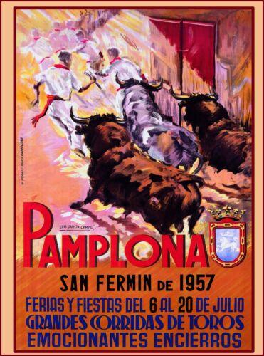 1957 Pamplona - San Fermin Spain Espana Vintage Travel Advertisement Art Poster