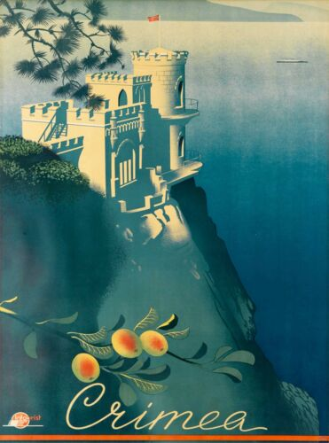 Crimea Ukraine Castle Russia Vintage Russian Travel Advertisement Art Poster