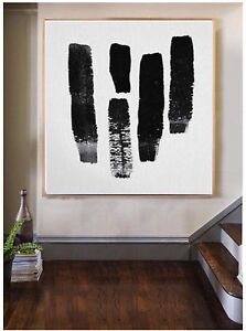 Large Modern Abstract Art Painting Black White Canvas Art