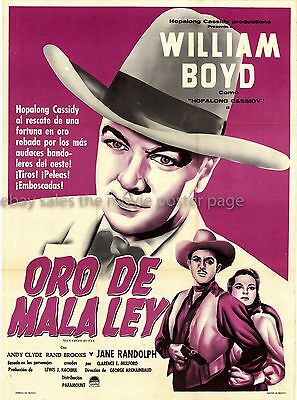 Fool's Gold 1947 William Boyd Mexican rerelease one-sheet movie poster